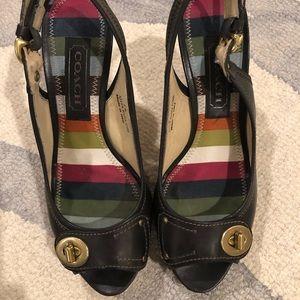 Coach Keira navy sling back high heels
